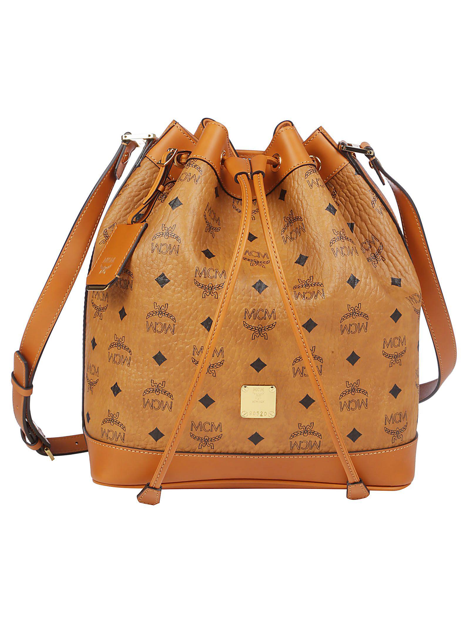0103541295e Mcm Heritage Bucket Bag In Cognac | ModeSens