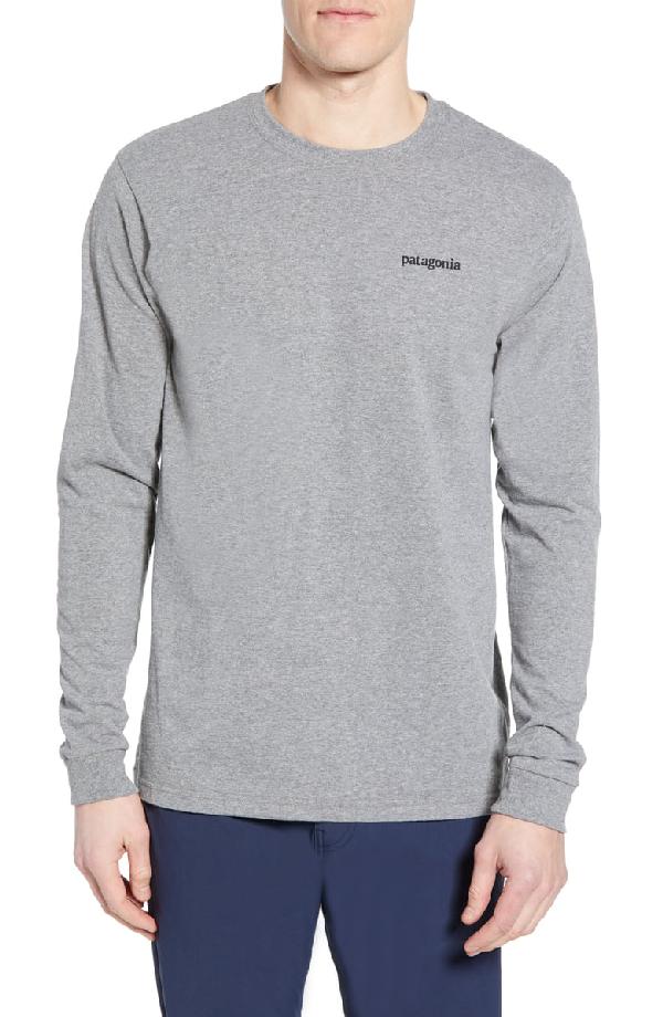 Patagonia Line Logo Long Sleeve Responsibili-Tee T-Shirt In Gravel Heather