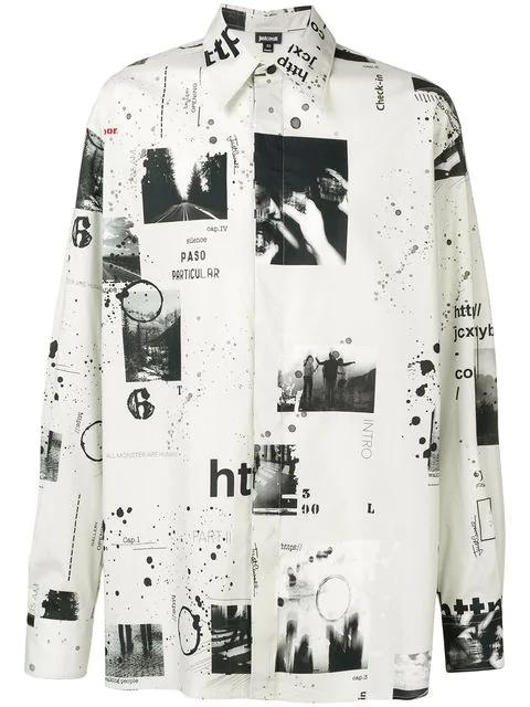 Just Cavalli Printed Oversized Shirt In Neutrals