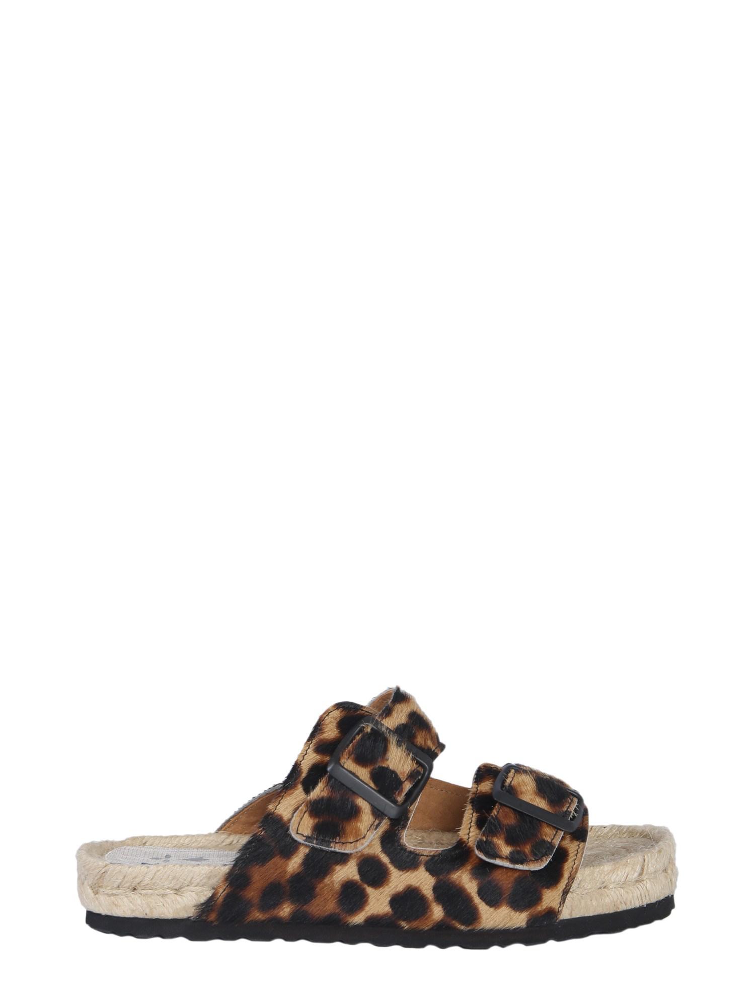 5edc5ccf93a Manebi Leopard Leather Sandals In Multicolour
