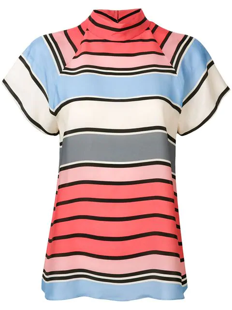 Emporio Armani Striped Short Sleeve Blouse In Pink