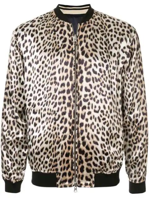 A.W.A.K.E. Reversible Leopard Print Satin Souvenir Jacket In Neutrals