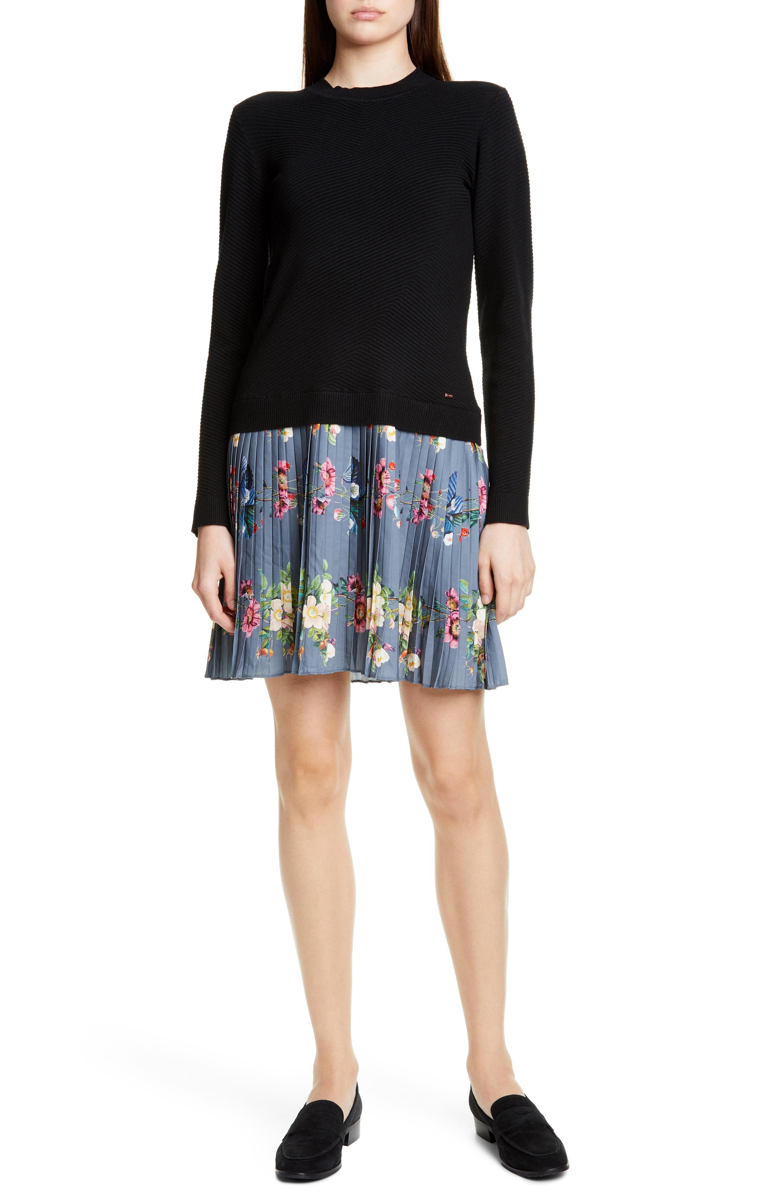 dd76736fd8 Ted Baker Izitaa Oracle Long Sleeve Pleat Skirt Dress In Black ...
