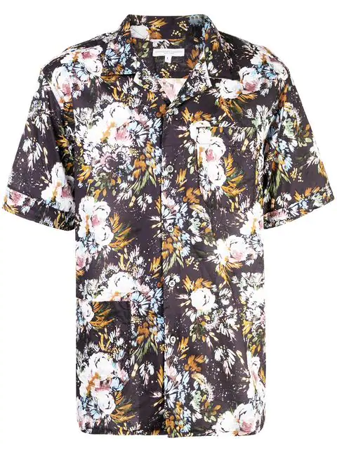 Engineered Garments Camp Shirt In Navy Multicolor Floral