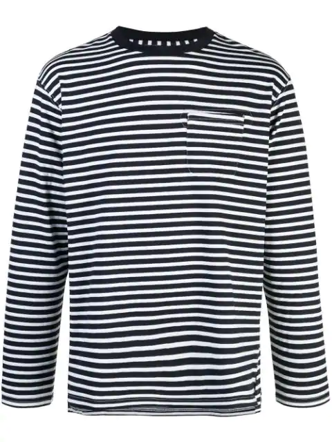 Engineered Garments Striped Longsleeved T-shirt In Blue
