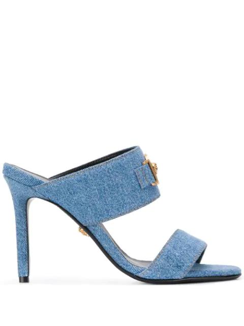 Versace Icon Denim Sandals In Blue