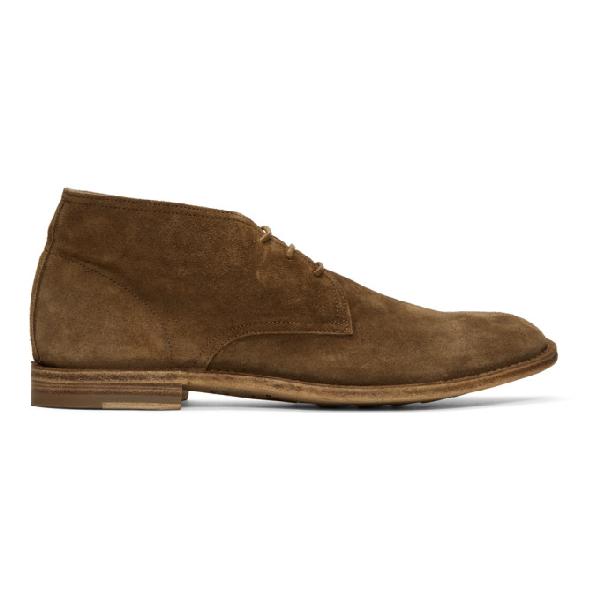 Officine Creative Brown Suede Standard Desert Boots In Softy Sigar