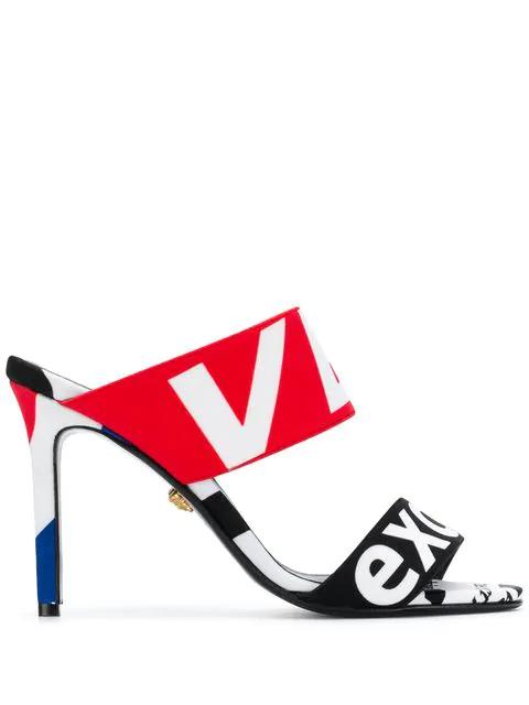 Versace Lettering Logo Print Sandals - Black
