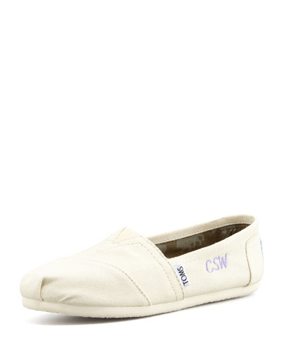 Toms Personalized Classic Canvas Slip-On In Light Beige
