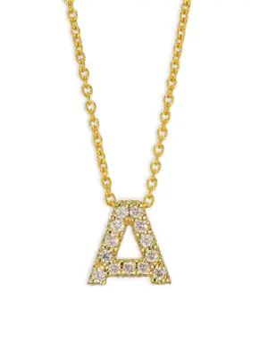 Roberto Coin Tiny Treasures Diamond & 18K Yellow Gold Initial Necklace In Initial A
