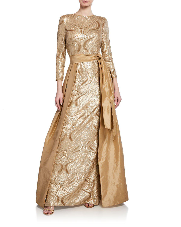 83e732f2fd Rickie Freeman For Teri Jon Long-Sleeve Sequin Gown W  Taffeta Overlay