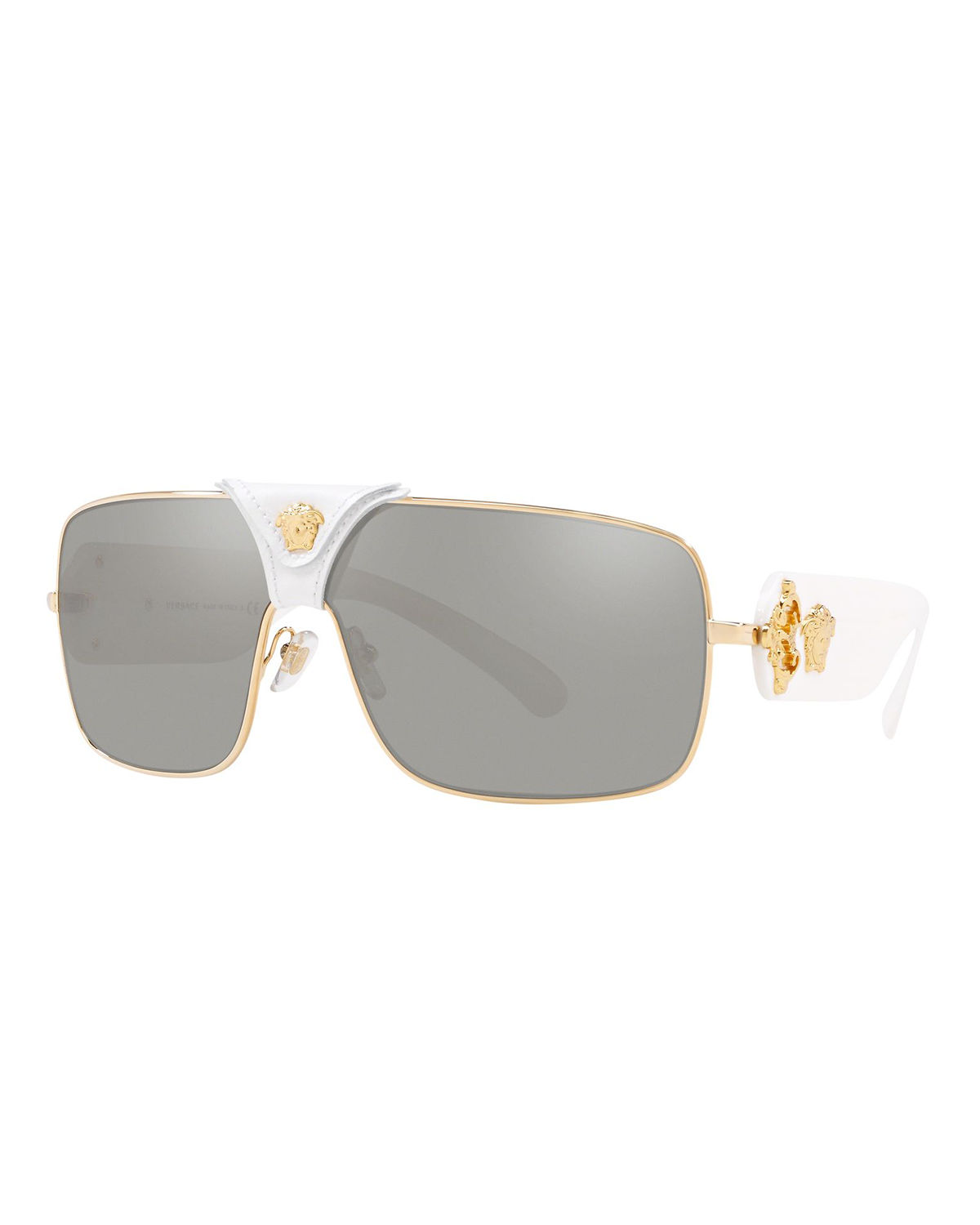 bfcc37ccf0 Versace Medusa Leather-Wrap Square Sunglasses In White Gold