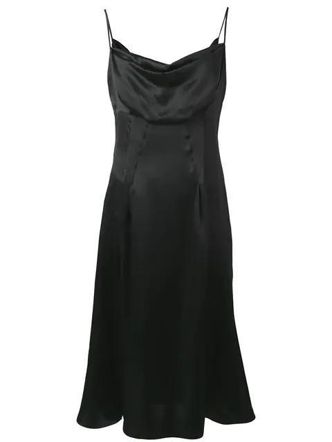 Versace Cowl Neck Silk Satin Slip Dress In Black
