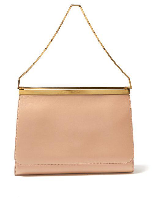 Marni Cache Chain-Handle Leather Bag In Tan Multi