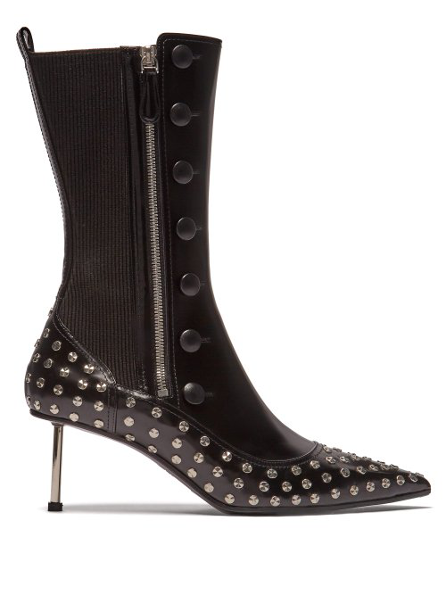 Alexander Mcqueen Stud-Embellished Leather Ankle Boots In Black Silver
