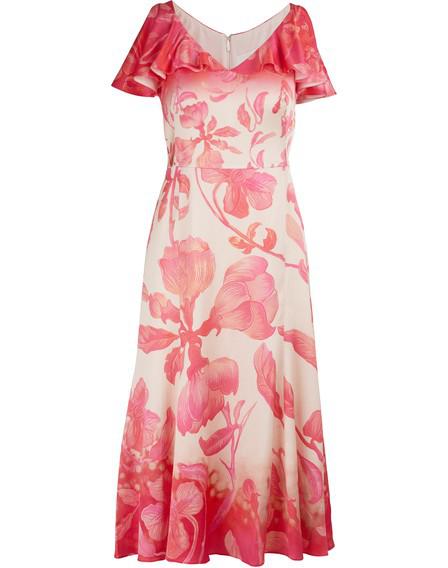 Peter Pilotto Silk Maxi Dress In Gradient Flower Pink