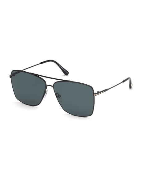 Tom Ford Men's Magnus Brow Bar Aviator Sunglasses, 60Mm In Black Pattern