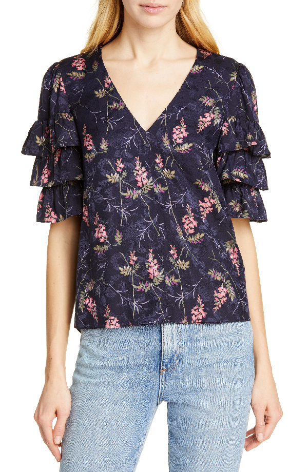 3458c73a712d7 Rebecca Taylor Tiered Ruffle Sleeve Silk Blend Blouse In Navy Combo ...