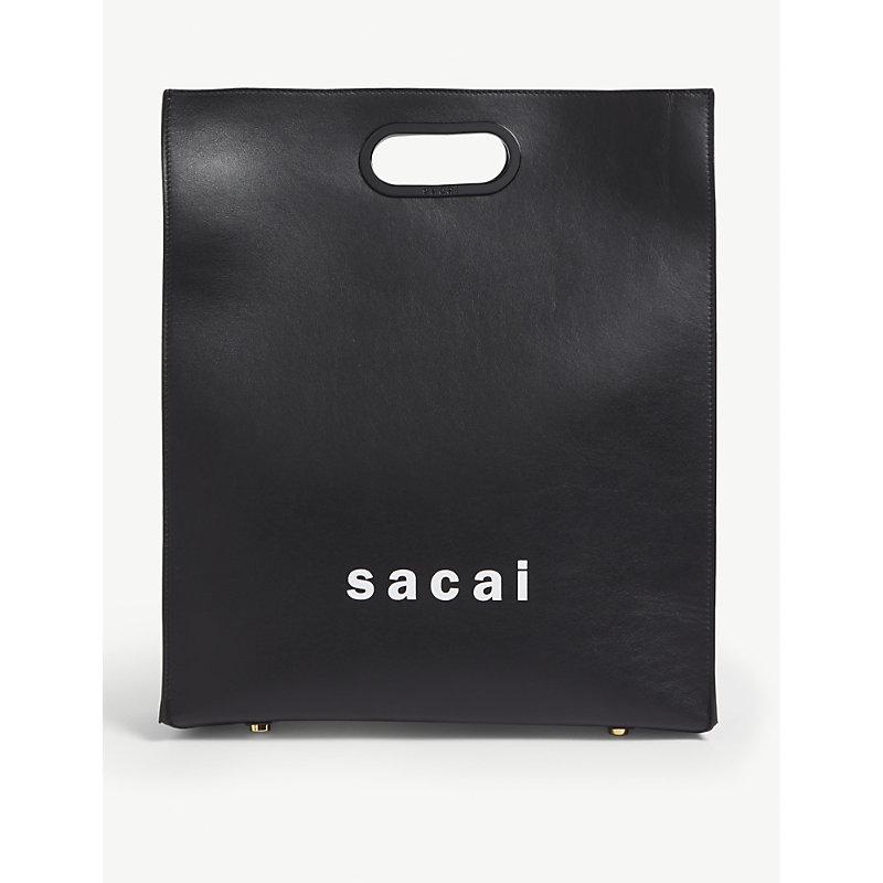 Sacai Logo Medium Leather Tote In Black