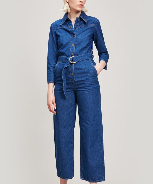 b3e8b50a265 M.I.H Jeans Harper Flared Denim Jumpsuit In Dazzling Blue