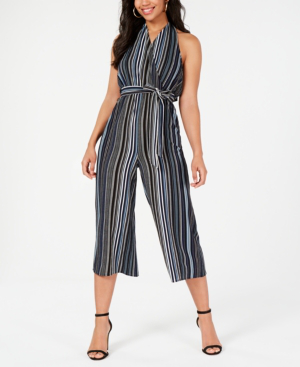 Almost Famous Juniors' Printed Halter Jumpsuit In Navy Combo