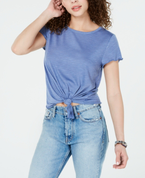 Almost Famous Crave Fame Juniors' Tie-Front Textured T-Shirt In Scandia Blue