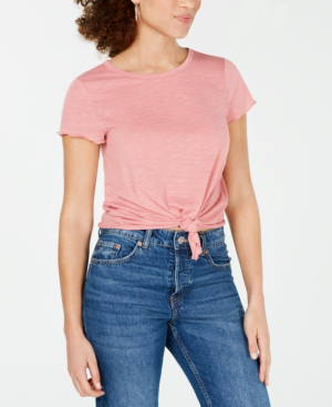 Almost Famous Crave Fame Juniors' Tie-Front Textured T-Shirt In Rose Tan