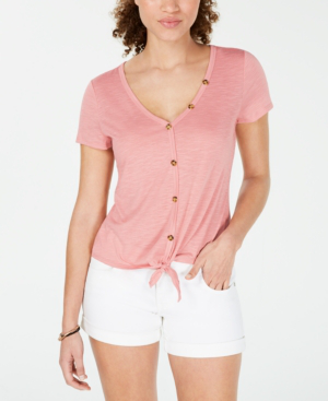 Almost Famous Crave Fame Juniors' Knot-Front Button-Trimmed Top In Rose Tan