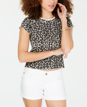 Almost Famous Crave Fame Juniors' Printed Lettuce-Edge Top In Leopard Print