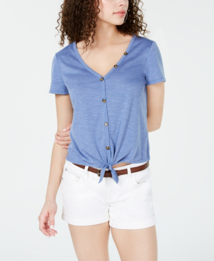 Almost Famous Crave Fame Juniors' Knot-Front Button-Trimmed Top In Scandia Blue