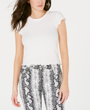 Almost Famous Crave Fame Juniors' Lettuce-Edge Textured Crop Top In White