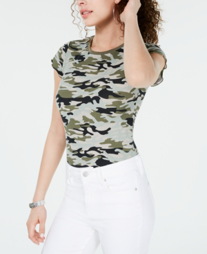 Almost Famous Crave Fame Juniors' Printed Lettuce-Edge Top In Camo Print