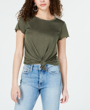 Almost Famous Crave Fame Juniors' Tie-Front Textured T-Shirt In Four Leaf Clover