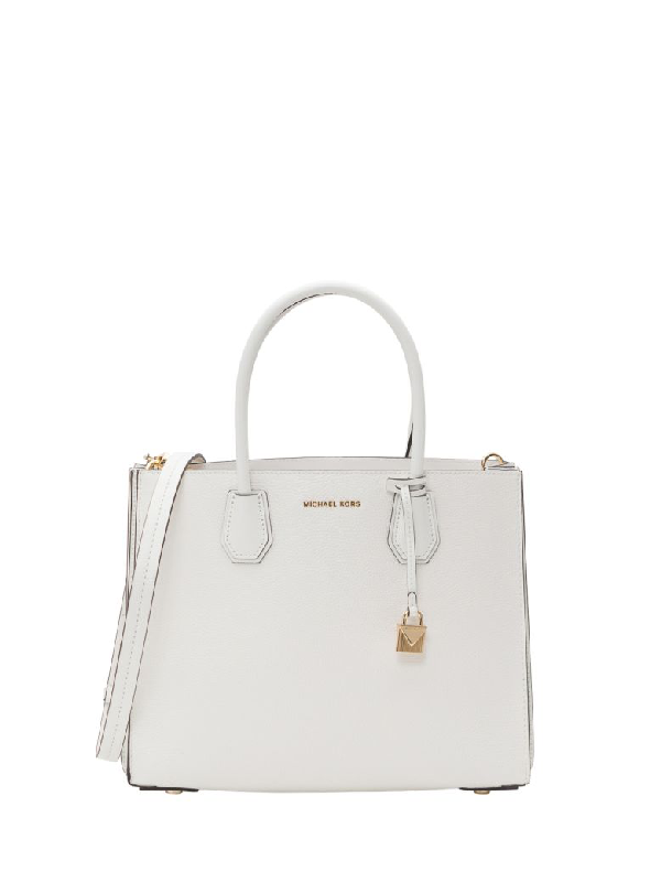 1e462c8a1aa6 Michael Michael Kors Mercer Large Pebbled Leather Accordion Tote In White