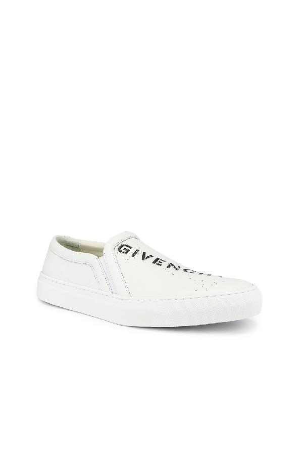 Givenchy Graffiti Logo Skate Sneaker In White & Black
