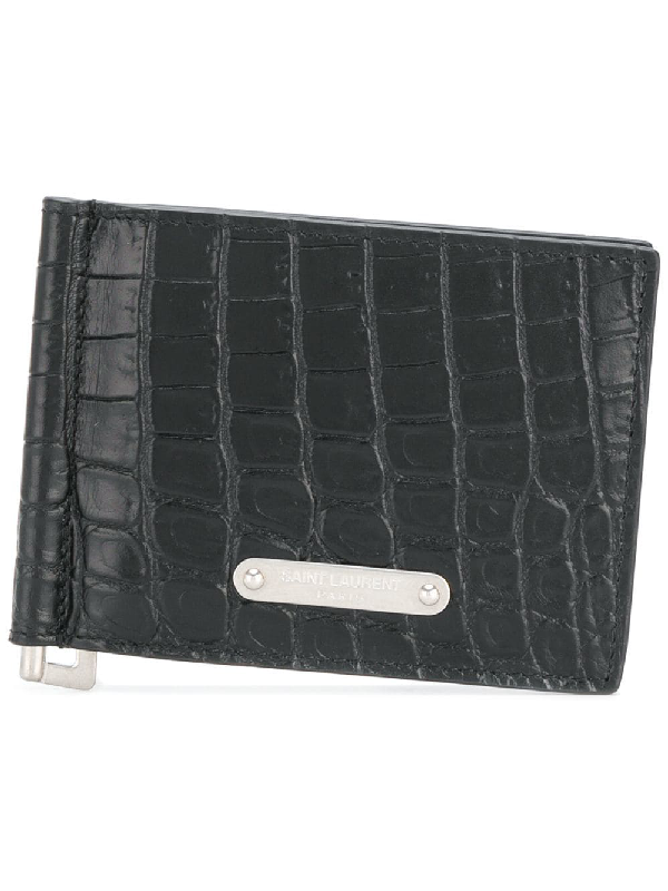 a2053544a8 Bill Clip Wallet In Crocodile Embossed Leather in 1000 Black