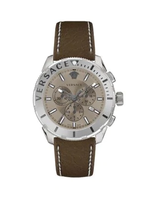 Versace Casual Stainless Steel & Leather-Strap Chronograph Watch In Grey