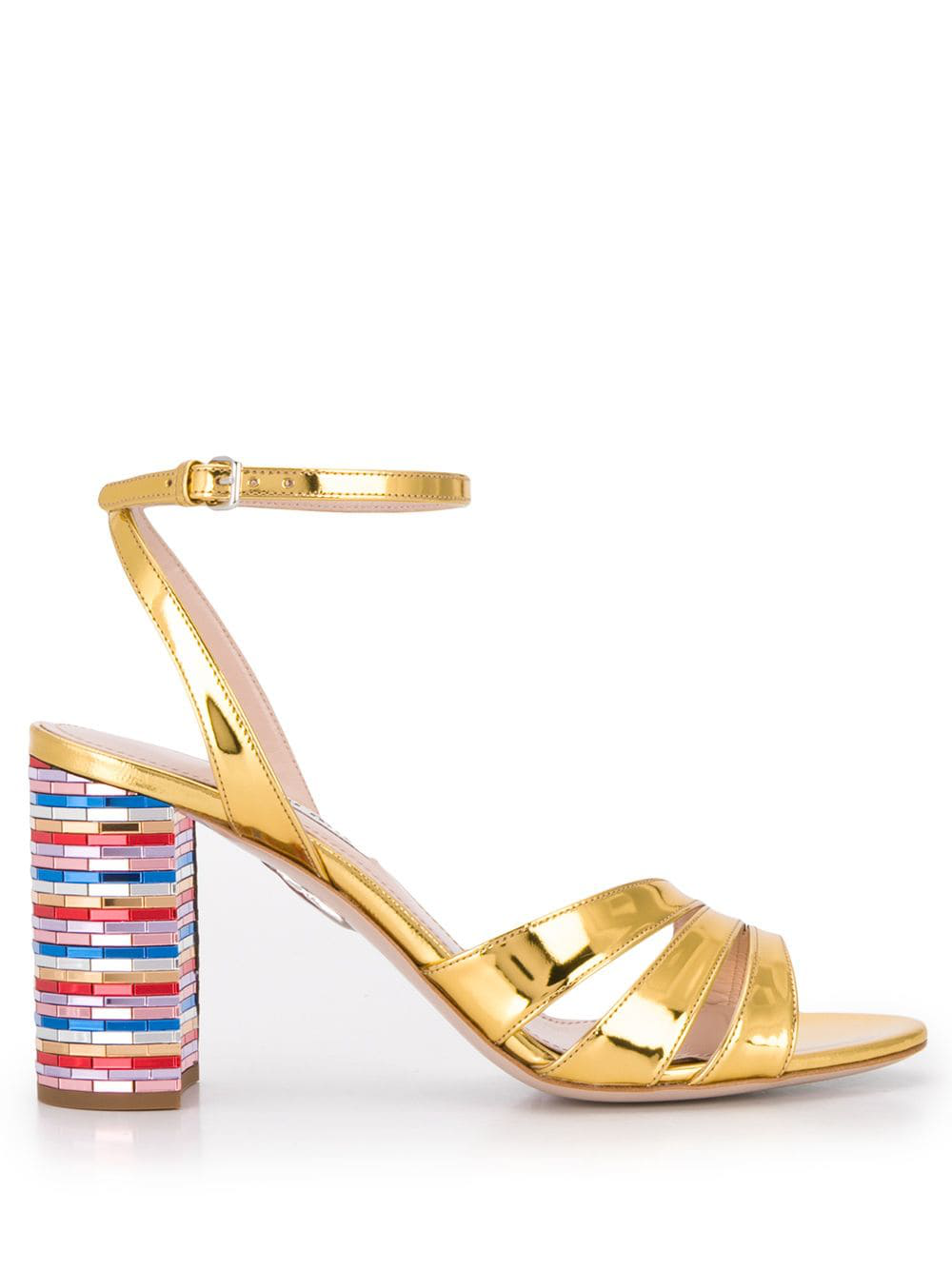 9a580405c Miu Miu Metallic Leather Sandals - Gold