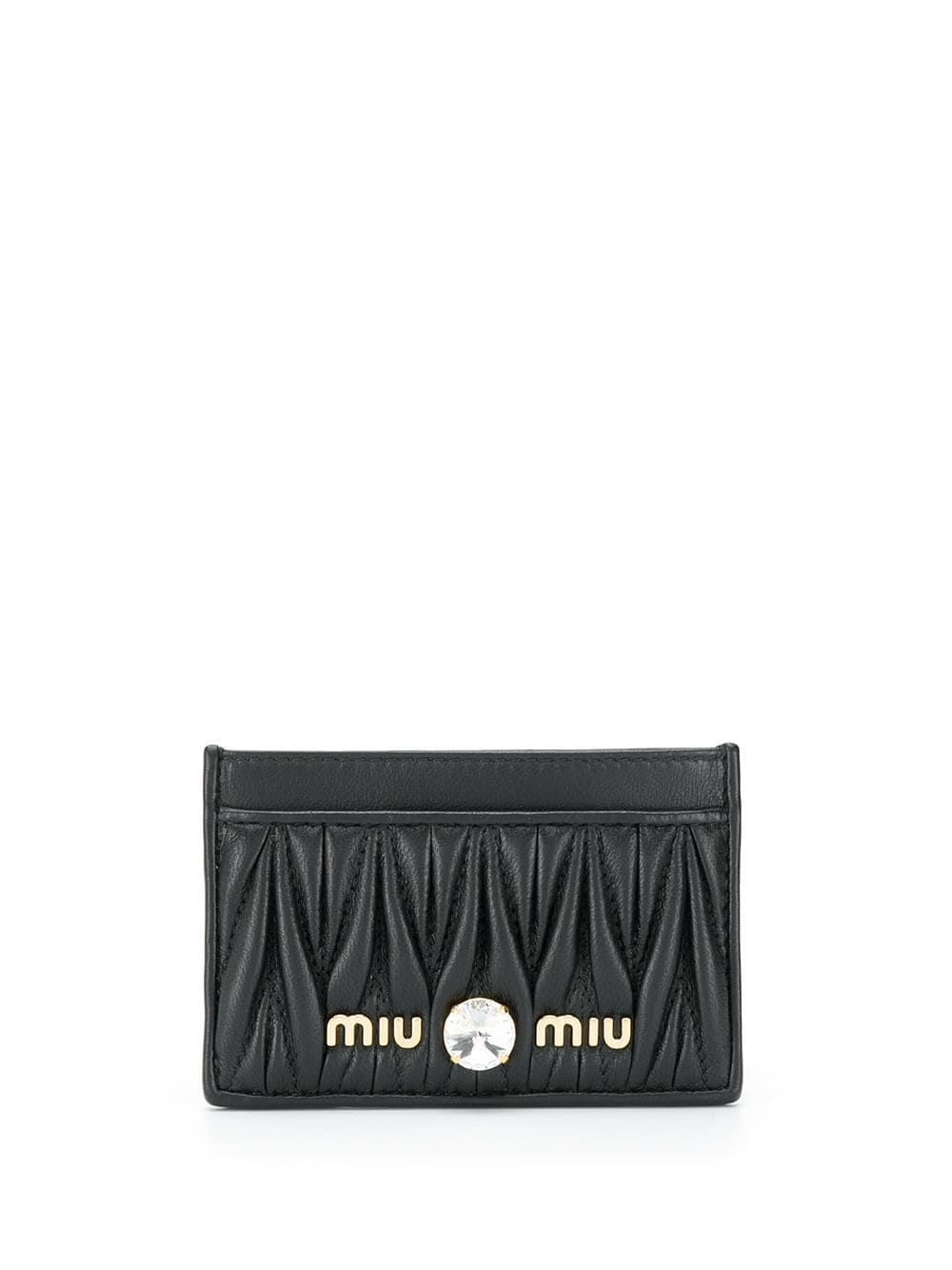 ad6e924a703 Miu Miu Matelassé Leather Card Holder - Black