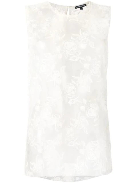 Ann Demeulemeester Rose-embroidered Tulle Top In 005 - Ecru