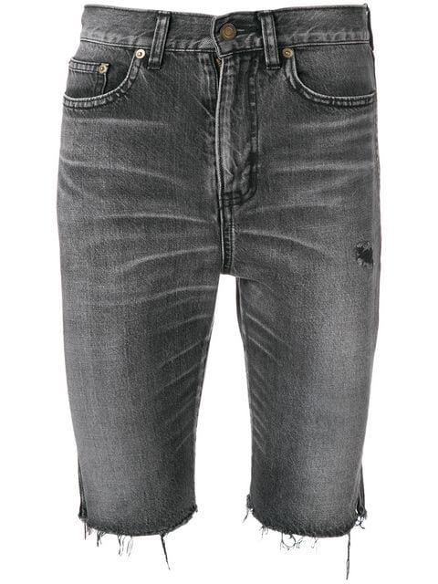 3f04e273051 Saint Laurent Raw-Edge Bermuda Shorts In Tokyo Black Denim | ModeSens
