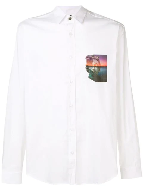 Just Cavalli Graphic Print Patch Shirt In White