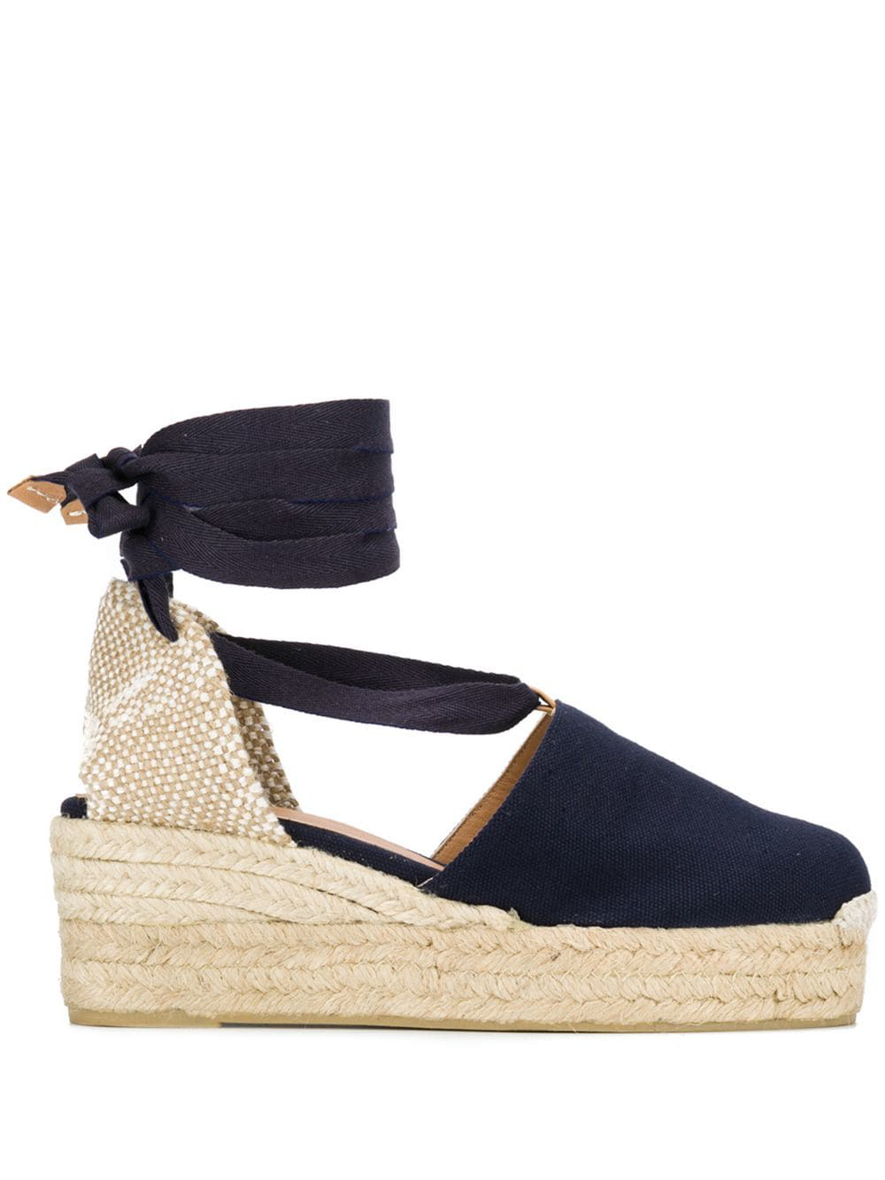 5bf222dd59ae Navy blue cotton and leather Campesina espadrilles from Castañer featuring a  round toe