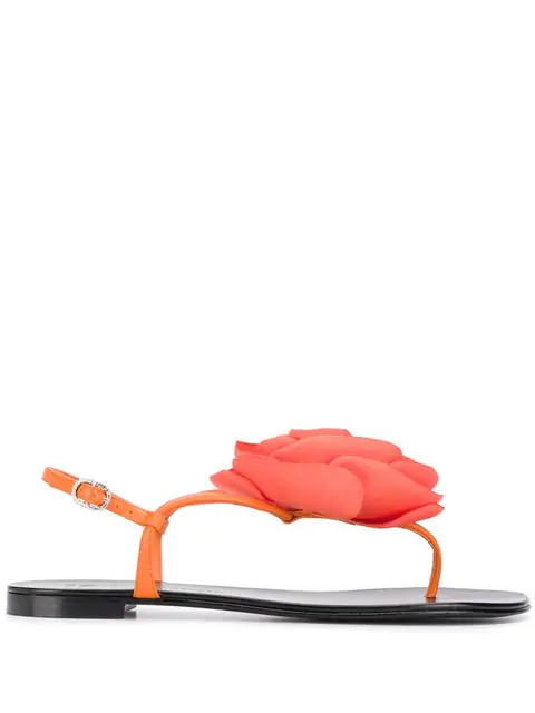 Giuseppe Zanotti Leather Thong Sandal With Flower Detail In Orange