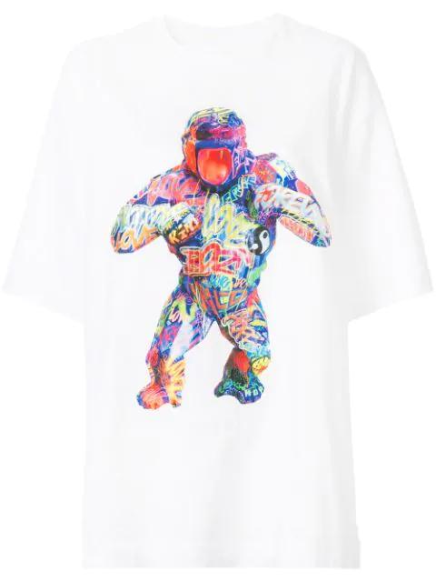 Juun.j Gorilla Print T In White