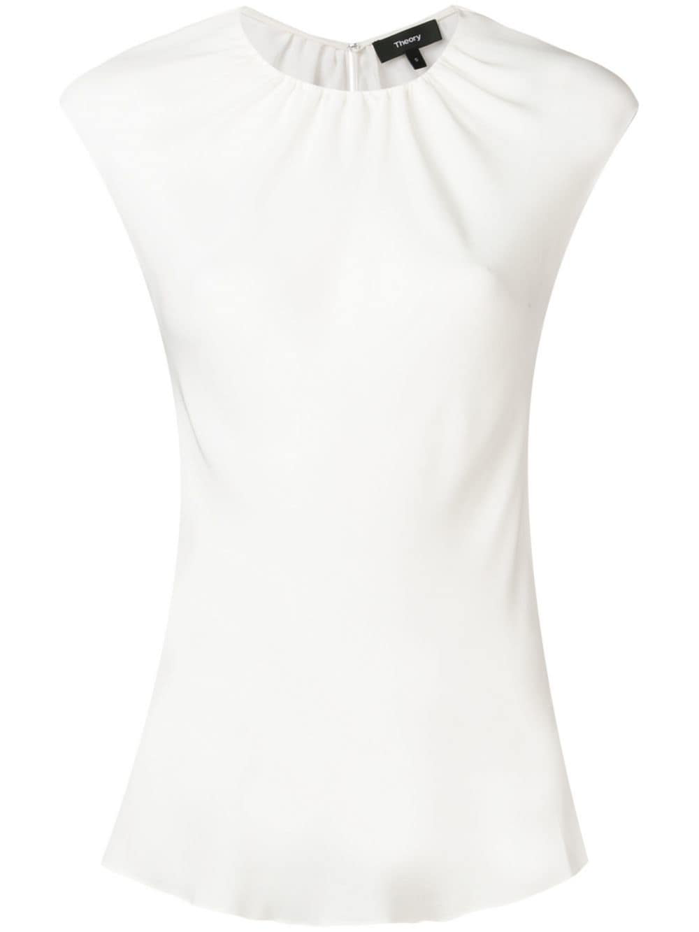 60450bbfeeb Theory Short-Sleeve Fitted Blouse - White   ModeSens