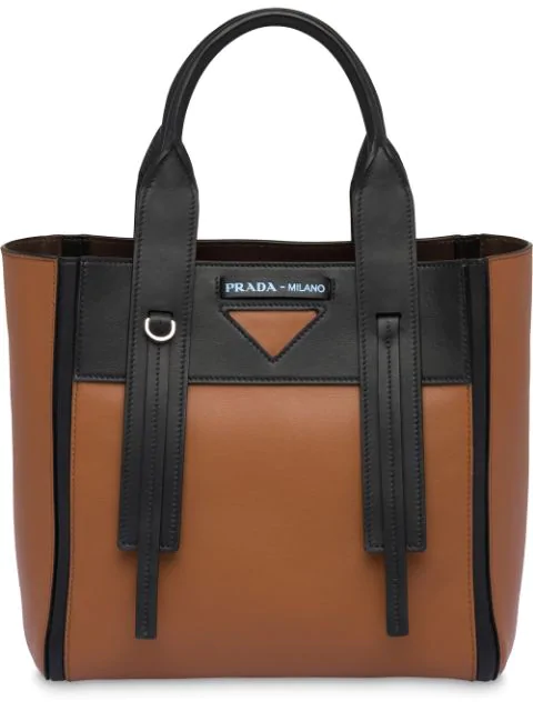 Prada Ouverture Small Leather Bag In Brown