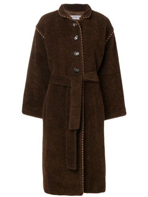 Saint Laurent 1990's Long Belted Coat In Brown