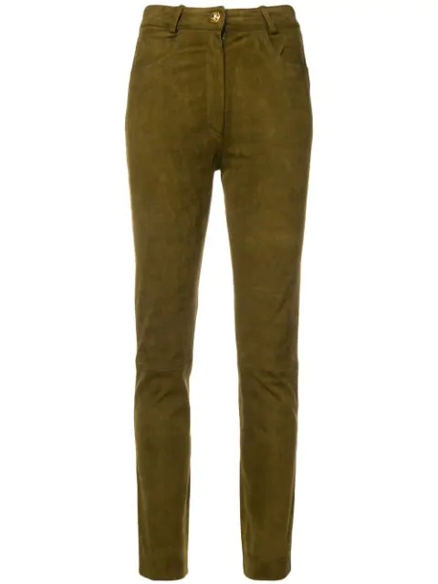 Pre-owned A.n.g.e.l.o. Vintage Cult 1980's Suede Trousers In Brown