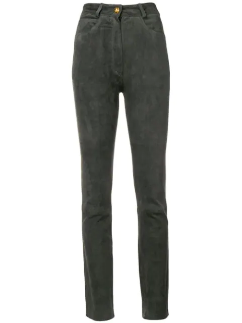 Pre-owned A.n.g.e.l.o. Vintage Cult 1980's Suede Trousers In Grey